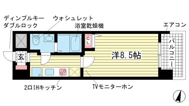 物件番号: 1025847693 アドバンス三宮Ⅴソレイユ  神戸市中央区二宮町4丁目 1K マンション 間取り図