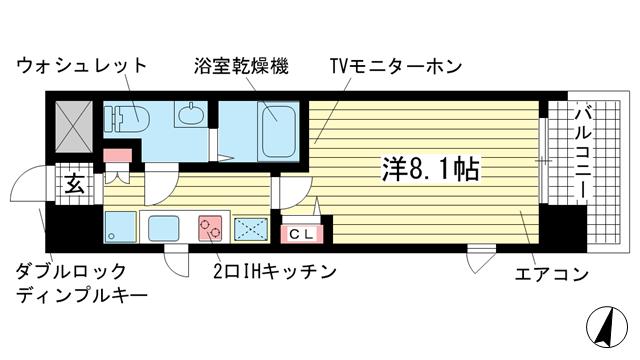 物件番号: 1025847699 アドバンス三宮Ⅴソレイユ  神戸市中央区二宮町4丁目 1K マンション 間取り図
