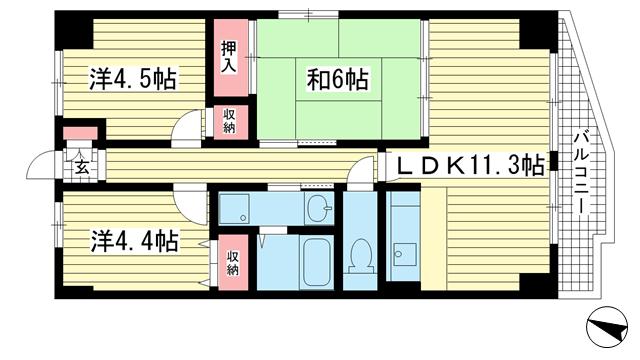 物件番号: 1025847709 エテルノ神戸  神戸市中央区国香通3丁目 2SLDK マンション 間取り図