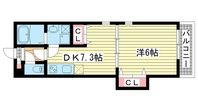物件番号: 1025847749 KTIレジデンス須磨関守  神戸市須磨区関守町3丁目 1DK ハイツ 間取り図
