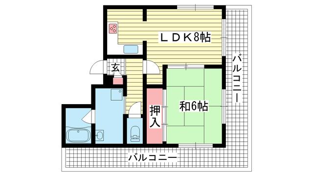 物件番号: 1025847893 シーポート  神戸市中央区二宮町4丁目 1LDK マンション 間取り図