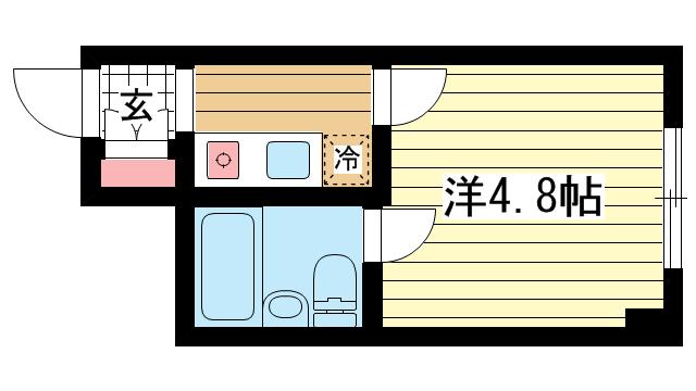 物件番号: 1025848041 グランドビスタ北野  神戸市中央区加納町2丁目 1K マンション 間取り図