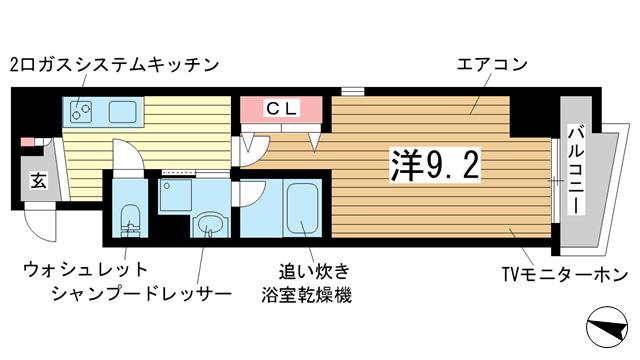 物件番号: 1025848263 ラマージュ三宮磯上公園  神戸市中央区磯辺通1丁目 1K マンション 間取り図