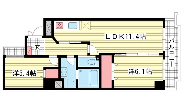 物件番号: 1025848329 ミリオンベル神戸  神戸市兵庫区佐比江町 2LDK マンション 間取り図