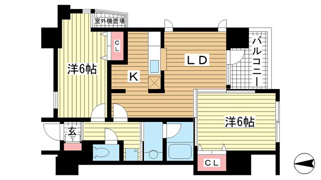 物件番号: 1025848370 メゾン・ヌーベル新神戸  神戸市中央区二宮町2丁目 2LDK マンション 間取り図