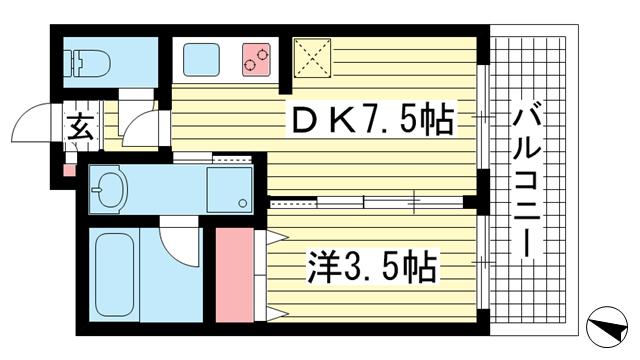 物件番号: 1025848649 フロレスタ  神戸市兵庫区駅前通3丁目 1DK マンション 間取り図