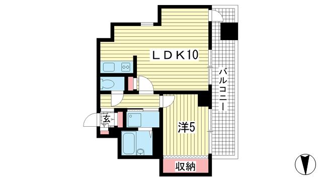 物件番号: 1025848712 ラフィーネ三宮  神戸市中央区二宮町3丁目 1LDK マンション 間取り図