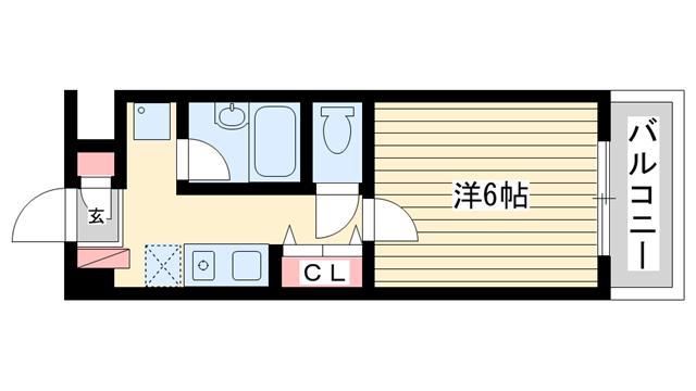 物件番号: 1025848786 マンション・ビーン  神戸市垂水区名谷町 1K マンション 間取り図