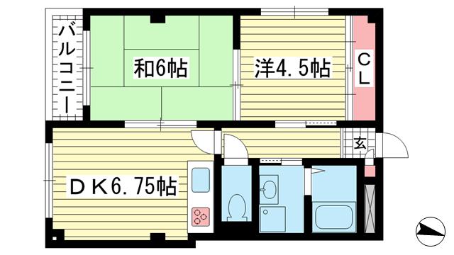 物件番号: 1025848897 サンライズ中山手  神戸市中央区中山手通2丁目 2DK マンション 間取り図