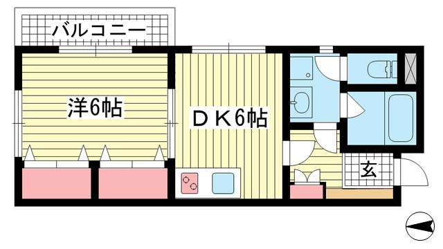 物件番号: 1025848980 パークコート六甲  神戸市灘区篠原中町6丁目 1DK マンション 間取り図