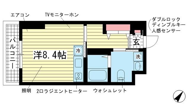 物件番号: 1025849009 オアシスコート大開  神戸市兵庫区中道通7丁目 1R マンション 間取り図
