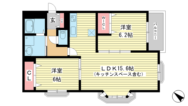 物件番号: 1025849070 モンテボヌールⅡ  神戸市灘区篠原北町3丁目 2LDK ハイツ 間取り図