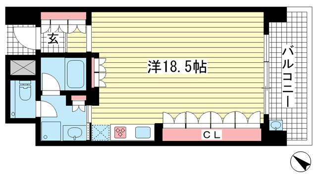 物件番号: 1025849071 ザ・パークハウス神戸トアロード  神戸市中央区中山手通2丁目 1R マンション 間取り図