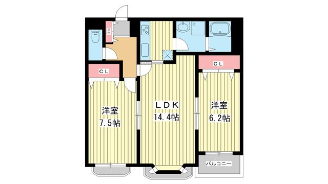 物件番号: 1025849072 モンテボヌールⅡ  神戸市灘区篠原北町3丁目 2LDK ハイツ 間取り図