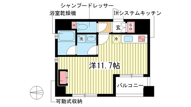 物件番号: 1025849137 セルフィーユ三宮  神戸市中央区二宮町4丁目 1R マンション 間取り図