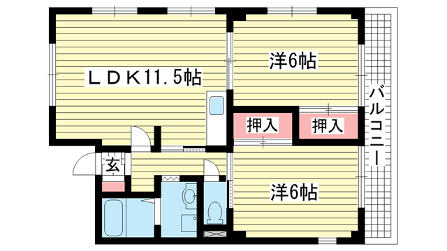 物件番号: 1025849378 リッチウォーク大倉山  神戸市中央区楠町6丁目 2LDK マンション 間取り図