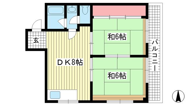 物件番号: 1025849600 藤正ファインクラフト  神戸市中央区中山手通1丁目 2DK マンション 間取り図