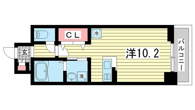 物件番号: 1025849714 プラチナコート  神戸市中央区御幸通6丁目 1K マンション 間取り図