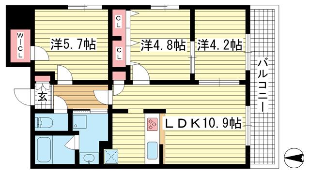 物件番号: 1025849785 カーヨパレス二宮  神戸市中央区二宮町1丁目 3LDK マンション 間取り図