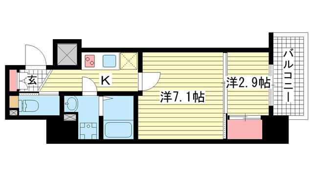 物件番号: 1025849829 アドバンス三宮ラシュレ  神戸市中央区吾妻通5丁目 2K マンション 間取り図