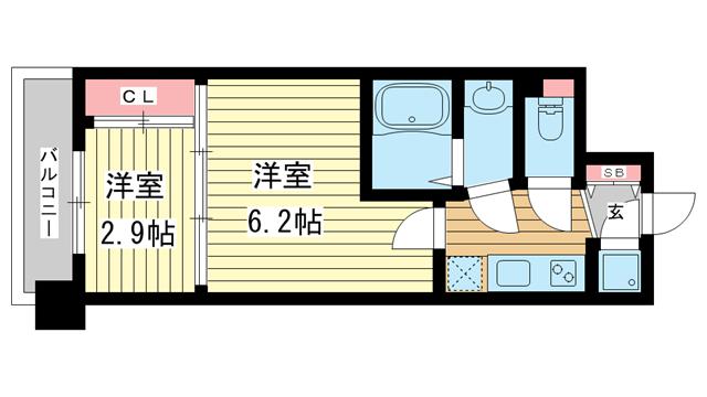 物件番号: 1025849834 アドバンス三宮ラシュレ  神戸市中央区吾妻通5丁目 2K マンション 間取り図