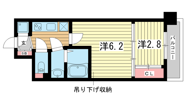 物件番号: 1025849840 アドバンス三宮ラシュレ  神戸市中央区吾妻通5丁目 2K マンション 間取り図