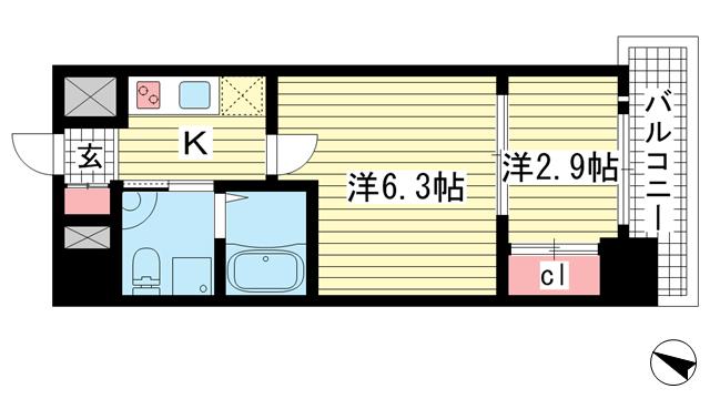 物件番号: 1025849847 アドバンス三宮ラシュレ  神戸市中央区吾妻通5丁目 2K マンション 間取り図
