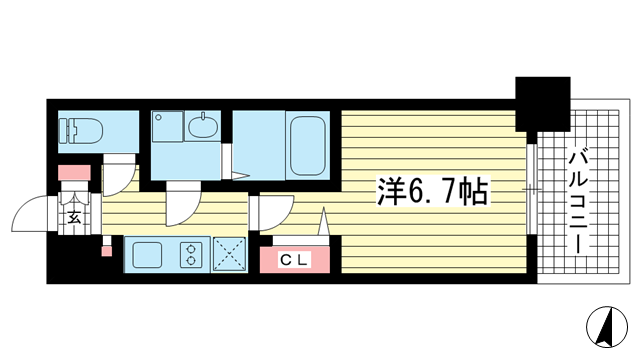 物件番号: 1025849987 レジュールアッシュ神戸元町  神戸市中央区花隈町 1K マンション 間取り図