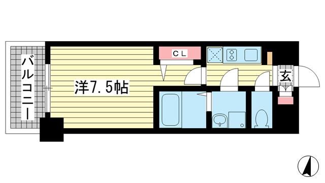 物件番号: 1025850026 レジュールアッシュ神戸元町  神戸市中央区花隈町 1K マンション 間取り図