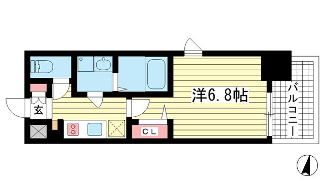 物件番号: 1025850055 レジュールアッシュ神戸元町  神戸市中央区花隈町 1K マンション 間取り図