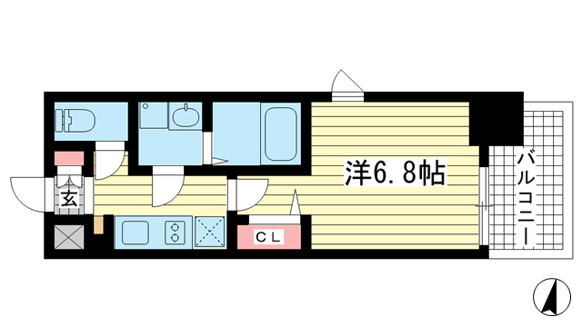 物件番号: 1025850056 レジュールアッシュ神戸元町  神戸市中央区花隈町 1K マンション 間取り図