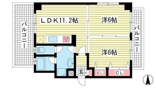 物件番号: 1025850065 神戸中山手ハウス  神戸市中央区中山手通6丁目 2LDK マンション 間取り図