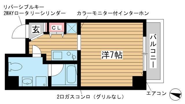 物件番号: 1025850072 チェメント  神戸市中央区御幸通2丁目 1K マンション 間取り図