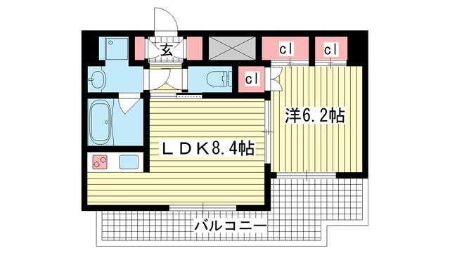 物件番号: 1025850190 アスヴェル神戸駅前  神戸市中央区古湊通2丁目 1LDK マンション 間取り図