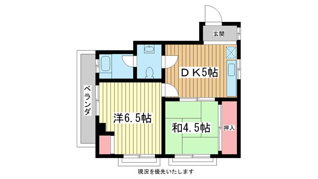 物件番号: 1025850258 合和マンション  神戸市中央区北野町3丁目 2DK マンション 間取り図