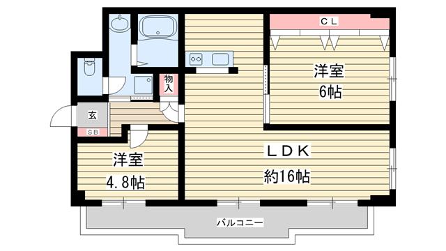 物件番号: 1025850314 ユニーブル六甲  神戸市灘区鶴甲3丁目 2LDK マンション 間取り図