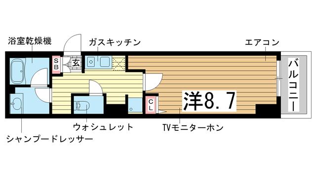 物件番号: 1025850408 コスモコート元町  神戸市中央区元町通3丁目 1K マンション 間取り図