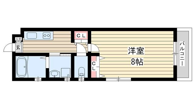 物件番号: 1025850473 H.Cフラッツ月見山Ⅱ  神戸市須磨区月見山本町2丁目 1K ハイツ 間取り図