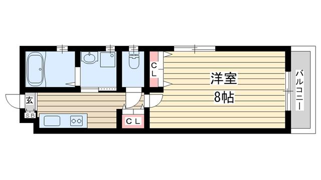 物件番号: 1025850474 H.Cフラッツ月見山Ⅱ  神戸市須磨区月見山本町2丁目 1K ハイツ 間取り図