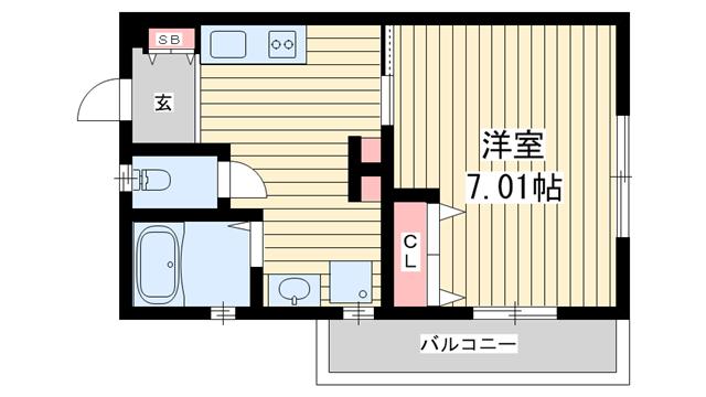 物件番号: 1025850487 H.Cフラッツ須磨関守  神戸市須磨区関守町2丁目 1K ハイツ 間取り図