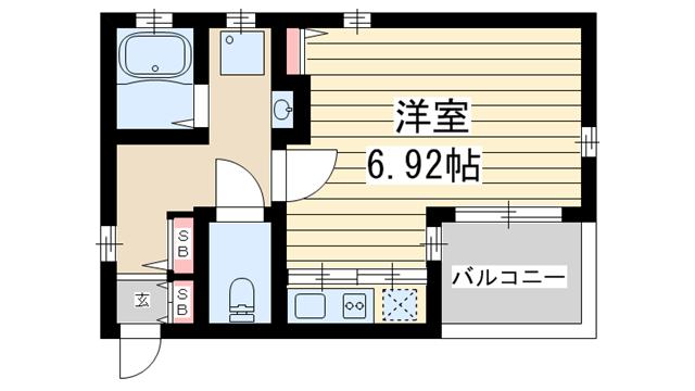物件番号: 1025850492 H.Cフラッツ須磨関守  神戸市須磨区関守町2丁目 1K ハイツ 間取り図