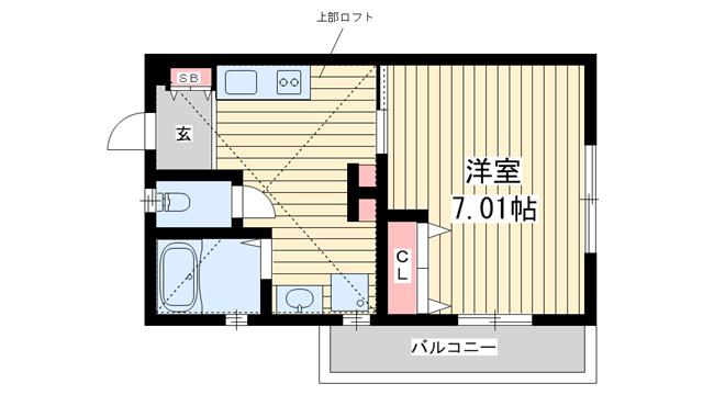 物件番号: 1025850493 H.Cフラッツ須磨関守  神戸市須磨区関守町2丁目 1K ハイツ 間取り図