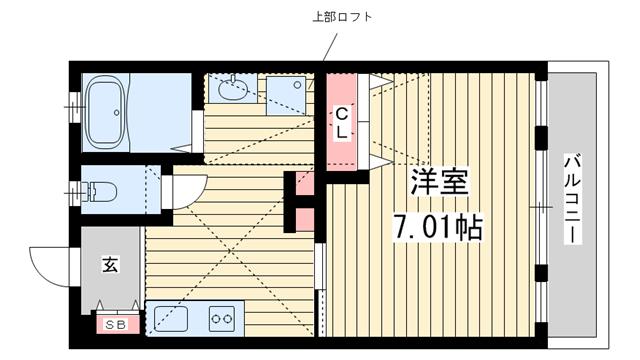 物件番号: 1025850494 H.Cフラッツ須磨関守  神戸市須磨区関守町2丁目 1K ハイツ 間取り図