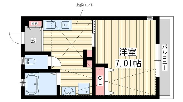 物件番号: 1025850495 H.Cフラッツ須磨関守  神戸市須磨区関守町2丁目 1K ハイツ 間取り図
