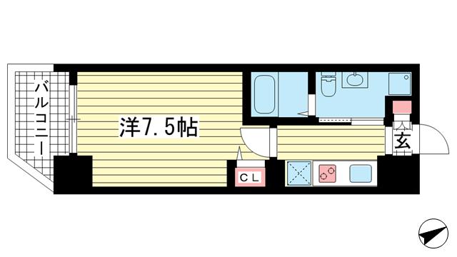 物件番号: 1025850580 アドバンス神戸プラージュ  神戸市中央区海岸通5丁目 1K マンション 間取り図