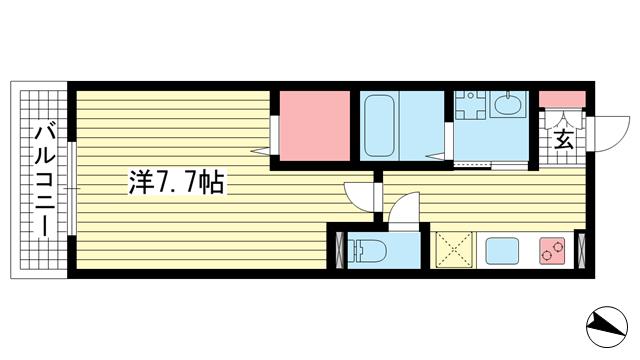 物件番号: 1025850737 KUDOUマンション  神戸市須磨区古川町3丁目 1K ハイツ 間取り図