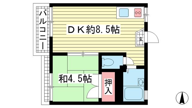 物件番号: 1025850751 ハイム孝  神戸市中央区楠町6丁目 1DK ハイツ 間取り図
