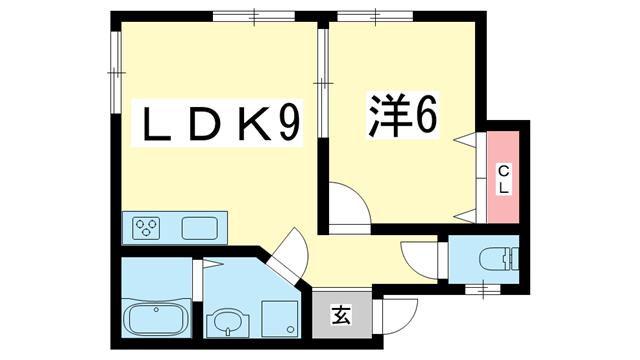 物件番号: 1025850766 サンシャイン新神戸  神戸市中央区熊内橋通6丁目 1LDK ハイツ 間取り図