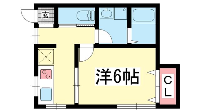 物件番号: 1025850770 サンシャイン新神戸  神戸市中央区熊内橋通6丁目 1K ハイツ 間取り図