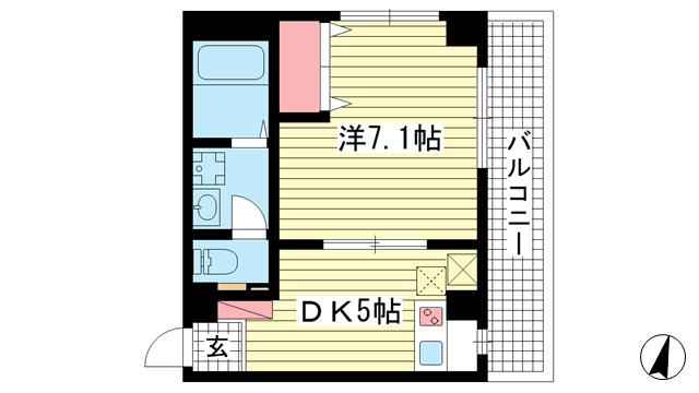 物件番号: 1025850855 セレブコートⅡ  神戸市灘区岩屋北町3丁目 1DK マンション 間取り図